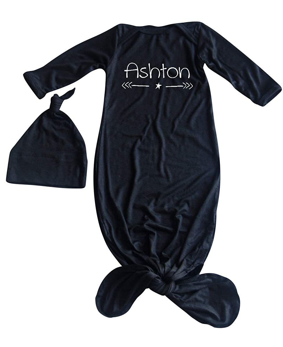 Unisex Girls Boys Infant Sleeper-Personalized with Name-Star and Arrow Silky Knotted Baby Gown with Knotted Hat
