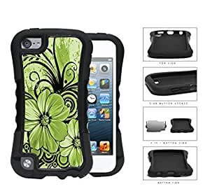 Pretty FloralArt (GREEN) Diy For LG G2 Case Cover 2-piece Dual Layer High Impact Black Silicone Cover