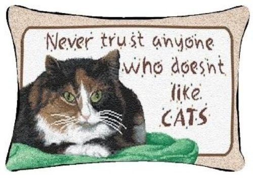 Manual Never Trust Cats 12.5 x 8.5-Inch Decorative Throw Pillow