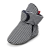 QGAKAGO Baby Girls Or Boys Fleece Booties - Cotton Lining and Soft Sole Prewalker Pull-On Shoes (S: 4.25 inch(0~6 Months), Black Stripe)