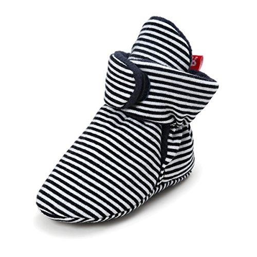 QGAKAGO Baby Girls or Boys Fleece Booties - Organic Cotton Lining and Soft Sole Prewalker Pull-On Shoes (S: 4.25 Inch(0~6 Months), Black Stripe) (Striped Booties)