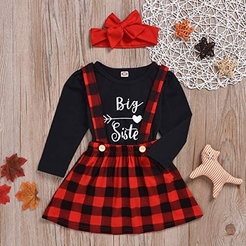 Karuedoo Baby Girl Big Sister Little Sister Matching Outfits Long Sleeve Romper Tops Plaid Suspender Overall Skirt Set