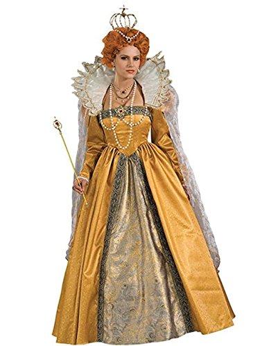 Queen Elizabeth Costume for Women,White,Large (Queen Elizabeth Wig)