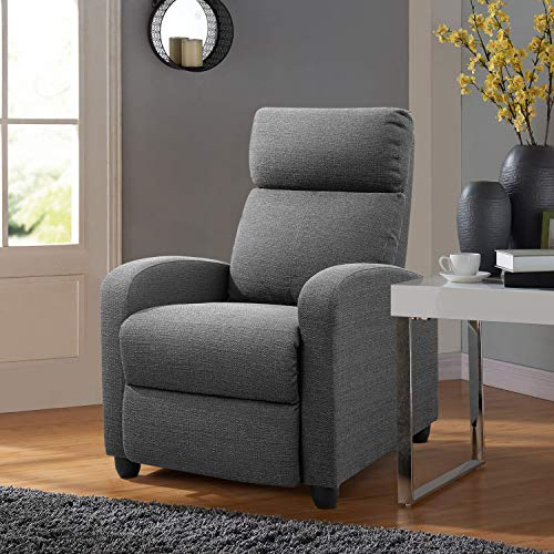 Tuoze Fabric Recliner Chair Ergonomic Adjustable Single Sofa with Thicker Seat Cushion Modern Home Theater Seating for Living Room (Grey)
