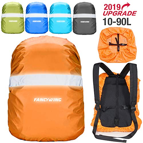 (FANCYWING Waterproof Backpack Rain Cover with Reflective Strap, Upgraded 10-90L Non-Slip Rainproof Backpack Cover for Hiking, Camping, Hunting, Rain Cycling, Orange, M)