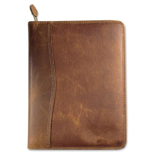 DTM80844 - DAYTIMER'S INC. Aviator Cowhide Leather Zippered Organizer Starter (Zippered Distressed Leather Binder)