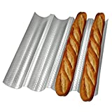 Non-stick Perforated Baguette Pan 15'' x 13'' for French Bread Baking 4 Wave Loaves Loaf Bake Mold Toast Cooking Bakers Molding 4 Gutter Oven Toaster Pan Cloche Waves Silver Steel Tray Italian