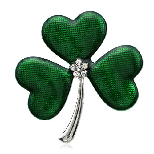 SoulBreezeCollection St. Patrick's Day Good Luck Charm Green Four Leaf Shamrock Clover Pin Brooch (Green)