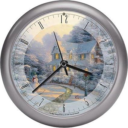 thomas kinkade the night before christmas musical musical christmas carol clock 8quot - Musical Christmas Clock