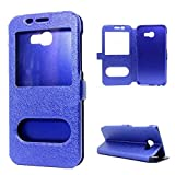 Samsung A5 2017 Case, Textured Silk Pattern Double Visible Window Flip Leather Case With Stand Function For Samsung Galaxy A5 2017 ( Color : Blue )
