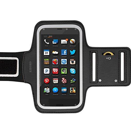 KHOMO Amazon Fire Phone Armband Case - Black Sweat Proof Sport Armband + Key Holder for Amazon Fire Phone
