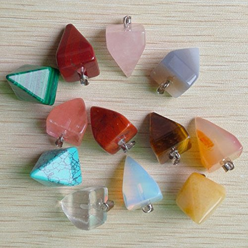 Stone Pendant Inverted (Natural Stone Mixed Inverted Pyramid Charm Pendants 24Pcs)