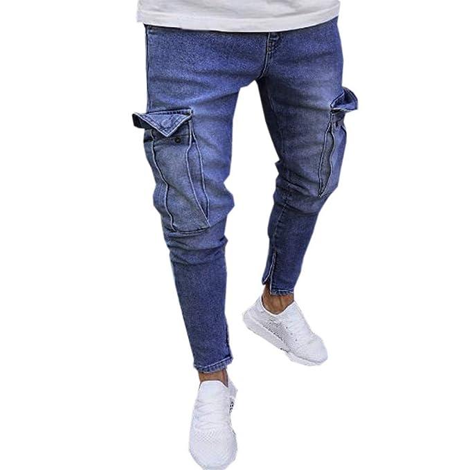 Malloom Pantalones Vaqueros de Moto de Hombres Pantalones de Deportivos con  Bolsillos Slim fit Skinny elásticos b36bb5ea3fe