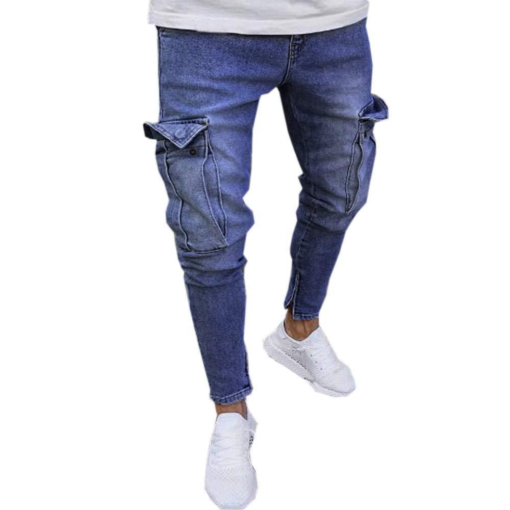 Cinhent Pants Mens Stretch Denim Distressed Ripped Freyed Slim Fit Pocket Jeans