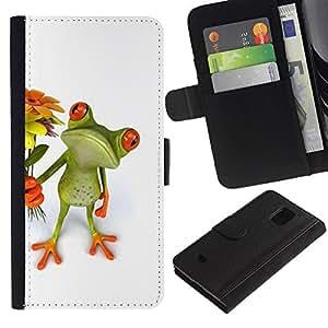 Stuss Case / Funda Carcasa PU de Cuero - Flowers Sweet Green Love Girlfriend - Samsung Galaxy S5 Mini, SM-G800, NOT S5 REGULAR!