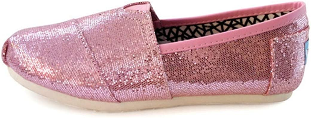 Women Espadrilles Fashion Sequin Decoration Solid Color Sewing Canvas Slip On Low Top Flat Spring Summer Breathable Ladies Casual Shoes