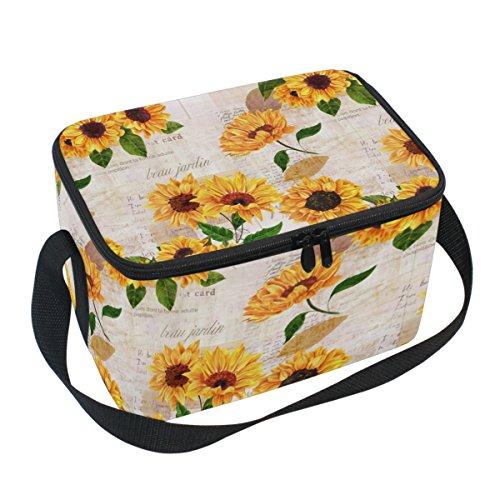 Naanle Vintage Sunflower Canvas Zipper Insulated Lunch Bag Cooler Tote Bag, Floral Flower Lunch Box Lunchbox Meal Prep Handbag for Adult Men Women Kids Girls Boys