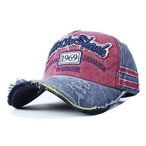 Vankerful Unisex Washed Cotton Baseball Caps Adjustable Snapback Fashion Embroidered Hip Hop Trucker Hat Navy Burgundy