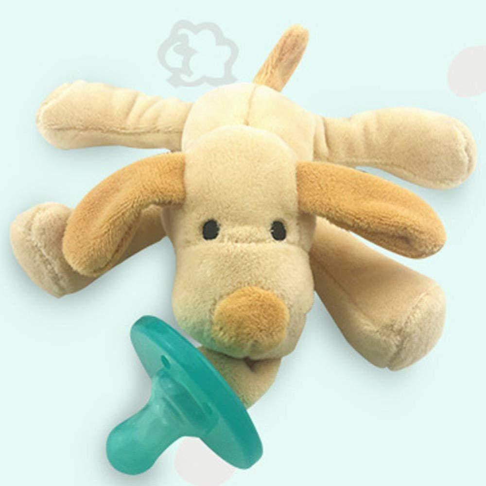 chupete de silicona, bebés y niños pequeños chupetes iSuper con felpa para niños y niñas de 6 a 18 meses (perros)