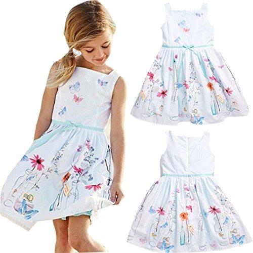 EKIMI Kids Girls Floral Butterfly Print Princess Dress Skirt (Little Mass Sundress)