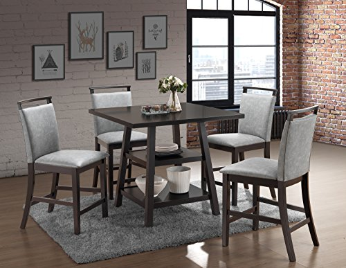 Kings Brand Aloe 5-Piece Cappuccino Wood Counter-Height Dining Set, Table with 4 Gray Upholstered Chairs