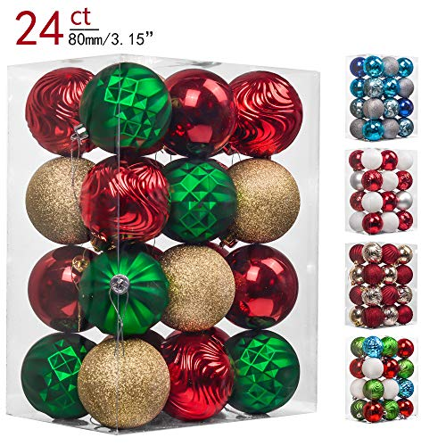 (Teresa's Collections 24ct 80mm Country Road Red Green and Gold Shatterproof Christmas Ball Ornaments Decoration,Themed with Tree Skirt(Not Included))