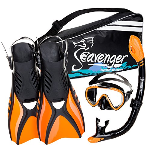 Seavenger Diving Snorkel Set - (Black Silicon/Orange) - M