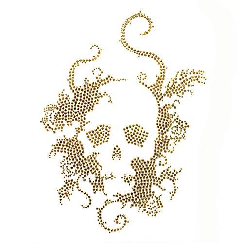 Rhinestone Iron on Transfer Hot Fix Motif Crystal Fashion Design Skull Gold 1 Sheets