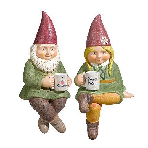 Grasslands Road 464310 Pair of Gnome Drinking Coffee Shelf Sitter Figurines, 8