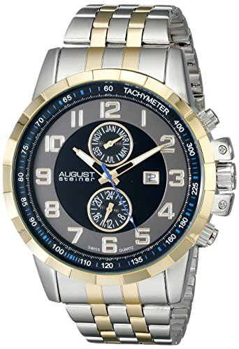 (August Steiner Men's AS8153TTG Yellow Gold And Silver Multifunction Swiss Quartz Watch with Gray and Black Dial and Two Tone Bracelet)