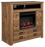 Ashley Furniture Signature Design - Cinrey Media Chest with Electric Fireplace Insert - Medium Brown