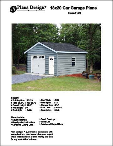 18' X 20' Car Garage/workshop Project Plans - Design #51820 Workshop Plan