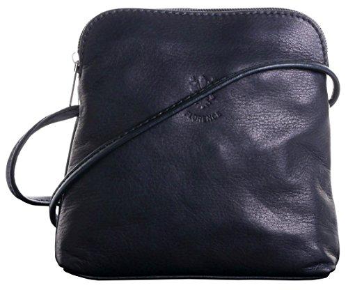 Italian Soft Leather Hand Made Small/Micro Black Cross Body or Shoulder Bag Handbag. Includes Branded Protective Storage Bag.