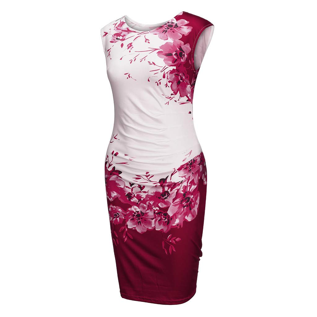 Keliay Dress for Women Summer,Women Fashion Sleeveless Floral Print Formal Party Evening Pencil Mini Dress