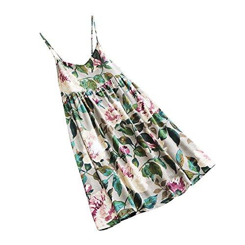 Vest Print Silk (HGWXX7 Women Casual Plus Size Floral Print Long Sleeve Linen Mini Party Dress (S, A-White(Vest)))