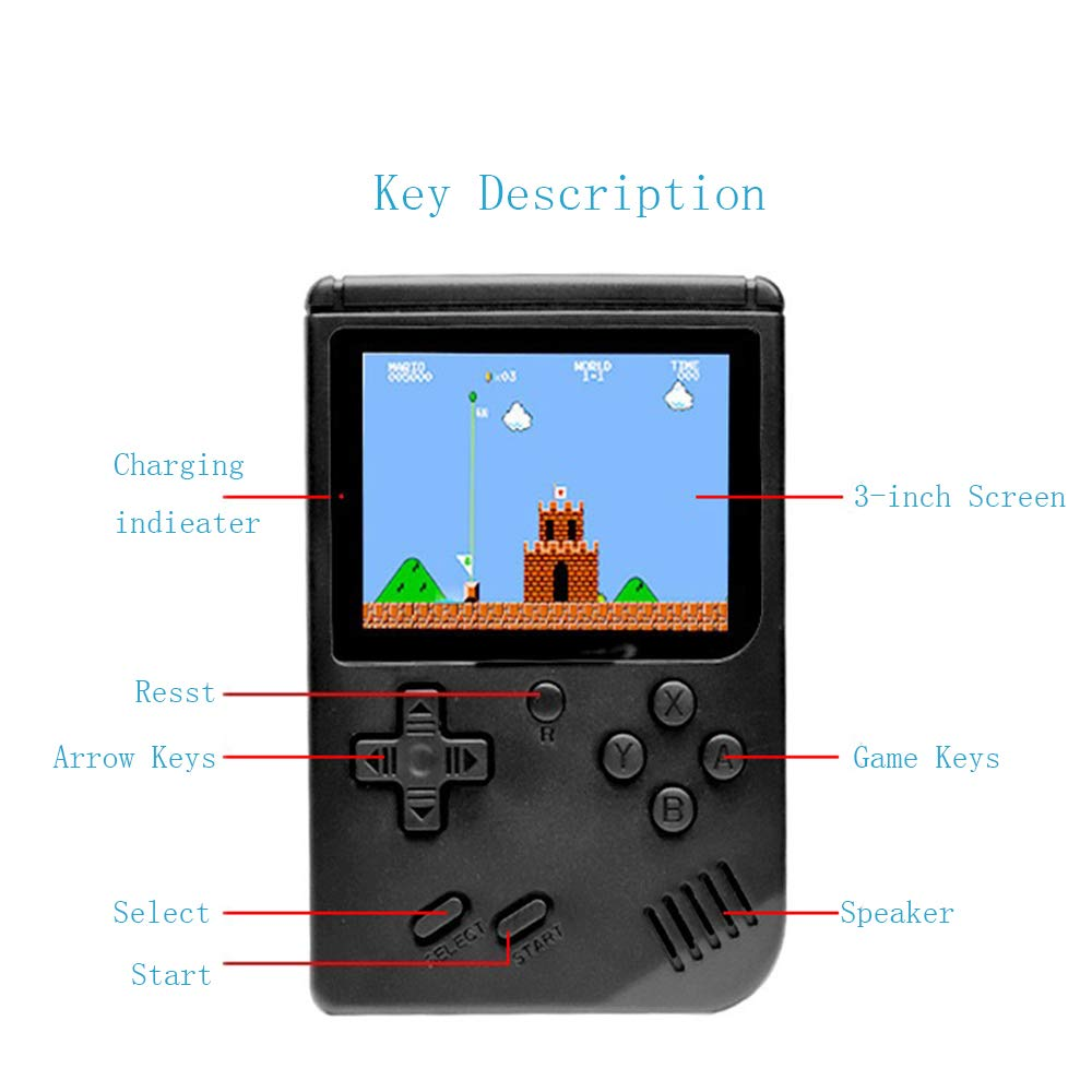 wanjiaxinhui Handheld Game Console, Retro FC Game Console, Portable Video Game Console for Connecting TV and Two Players with 3 Inch LCD Screen 168 Classic Games (Black) by wanjiaxinhui (Image #5)