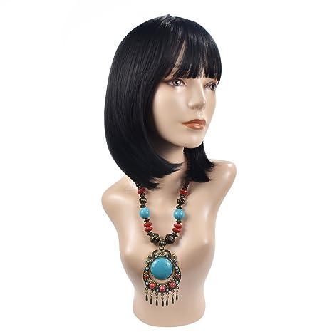 Ba Sha Beauty - Peluca de pelo sintético de alta calidad con brazaletes y capucha para