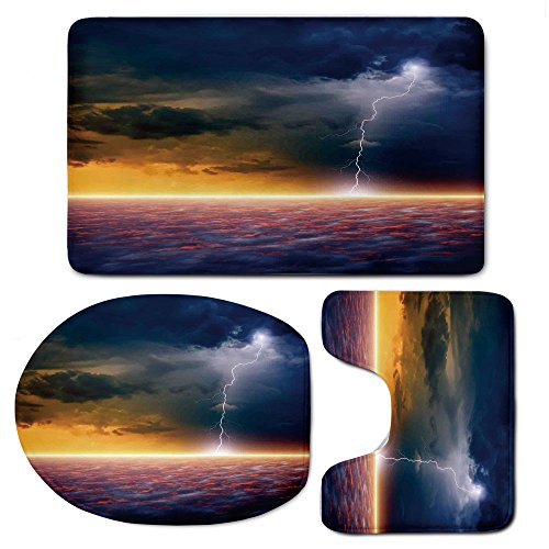 3 Piece Bath Mat Rug Set,Lake-House-Decor,Bathroom Non-Slip Floor Mat,Apocalyptic-Sky-View-End-of-the-World-Majestic-Mystic-Sky-Solar-and-Flames-Image,Pedestal Rug + Lid Toilet Cover + Bath Mat,Orange by iPrint
