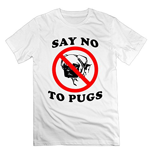 Mens Say No To Pugs Funny Quotes Stylish Cotton Tshirt Short Sleeve