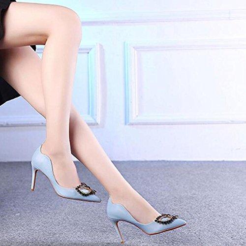 L@YC® Mujer High Heels Nightclub Ultra BotóN TacóN alto Una Multa Gran TamañO Con Sandalias De Danza Blue