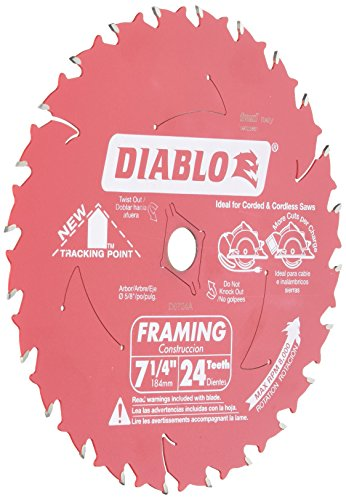 - Freud D0724A Diablo 7-1/4-Inch 24 Tooth ATB Framing Saw Blade with 5/8-Inch and Diamond Knockout Arbor