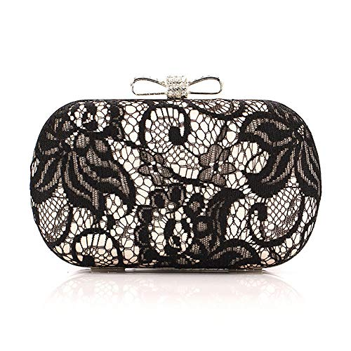 Dinner Bag Ladies Pleated Floral Lace Hand Evening Bag Evening Dress Handbag Wallet Suitable for All Occasions (Color : Black, Size : Free Size) ()