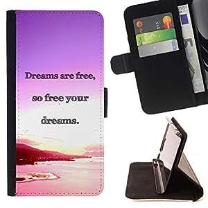 Momo Phone Case / Flip Funda de Cuero Case Cover - Los sue?os del océano Purple Sunset Pink - Huawei Ascend P8 (Not for P8 Lite)