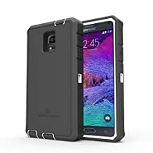 Samsung Galaxy Note 4 Rugged Case,Zerolemon ZeroShock Rugged Case + Belt Clip [Battery NOT Included] (Fits All Versions of Galaxy Note 4) [180 days ZeroLemon Warranty Guarantee] - White / Black