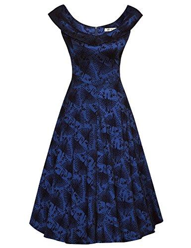 MUXXN Ladies Rockabilly Style Slash Neck Spring Garden Party Tea Dress (Swan Blue M)