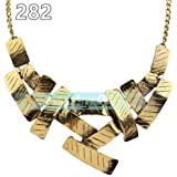 282# Gold Fashion Women Jewelry Pendant Crystal Choker Chunky Statement Chain Bib Necklace