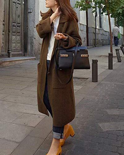 Sciolto Invernali Lunghe A Aperto Casual Qualità Mode Cappotto Lunghi Maniche Braun Comodo Forcella Di Autunno Maglia Outerwear Donna Giacca Marca Eleganti Pullover Alta Moda qpqO4Xw