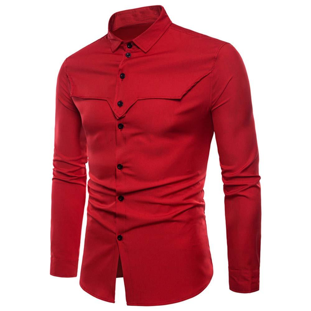 Blusa de Hombre de BaZhaHei, Clásico de la Moda Manga Larga para Hombre Oxford Trajes Formales Casuales Slim Fit tee Camisas de Vestir Blusa para Hombre del ...