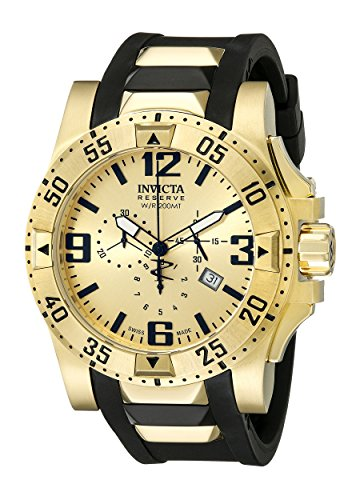 Invicta Men's 6267 Reserve Collection Chronograph Excursion Edition Gold-Plated Watch with Black Band - Excursion Collection