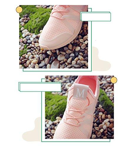 Modische Frauen bequeme Sportschuhe Breathable Net Schuhe Outdoor Low To Help Running Schuhe Casual Flat Schuhe ( Farbe : Pink , größe : 35 ) Pink